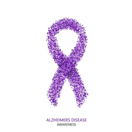 Wektor nowoczesne Alzheimera świadomości na temat choroby kręgów desigen. Fioletowy wstążki na białym tle Ilustracje wektorowe