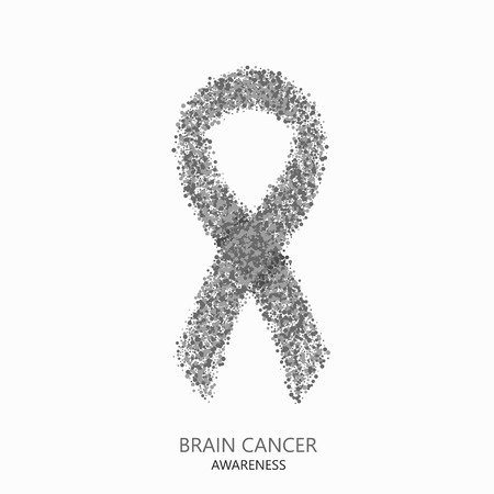 brain cancer: Vector modern brain cancer awareness circles desigen. Gray ribbon isolated on white background