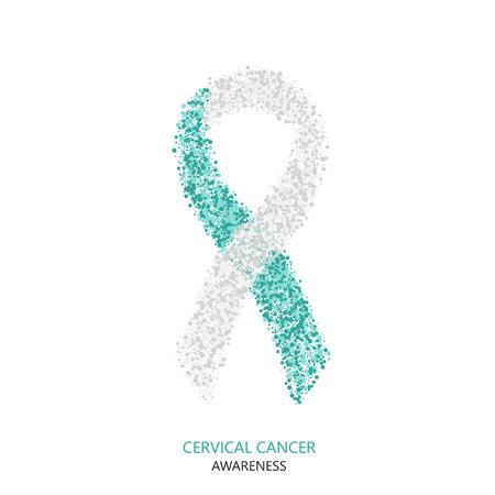 ベクトル現代子宮頸がん啓発サークル動的。白い背景で隔離ティールと白のリボン