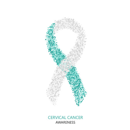 Vector modern cervical cancer awareness circles desigen. Teal and white ribbon isolated on white background