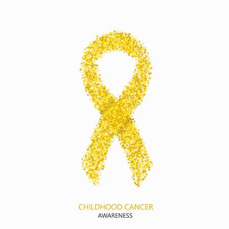 círculos conciencia del cáncer de la infancia moderna vector DESIGEN. Cinta amarilla aislada en el fondo blanco Ilustración de vector