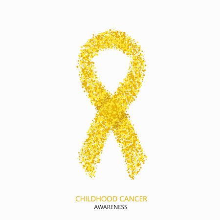 Vector moderna infanzia cerchi consapevolezza del cancro desigen. Nastro giallo isolato su sfondo bianco Vettoriali