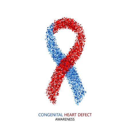 health concern: Vector modern Congenital Heart Defect circles desigen. Blue and red ribbon isolated on white background