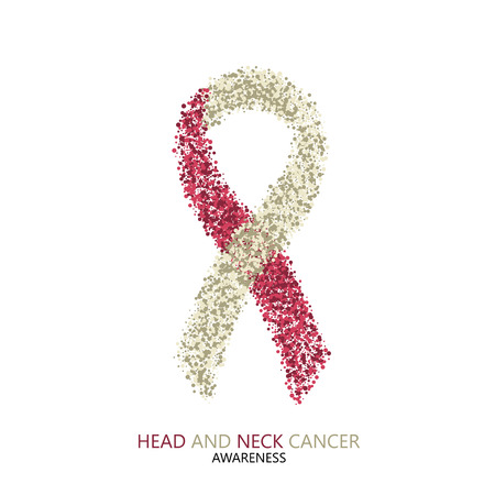 ベクトル現代頭頸部癌意識の動的を円します。白い背景に分離されたカラフルなリボン