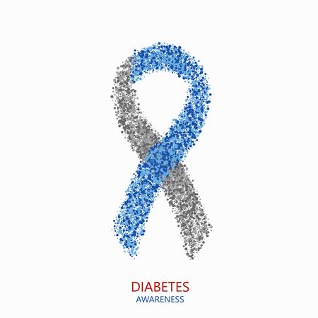 Vector moderne diabetes kringen desigen. Blauw en grijs lint op een witte achtergrond Stock Illustratie