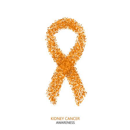 Vector modern kidney cancer awareness circles desigen. Orange ribbon isolated on white background