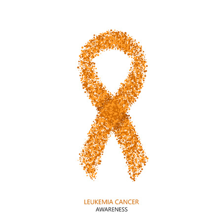 Vector modern leukemia cancer awareness circles desigen. Orange ribbon isolated on white background 矢量图像