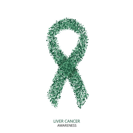 against: Vector modern liver cancer awareness circles desigen. green ribbon isolated on white background