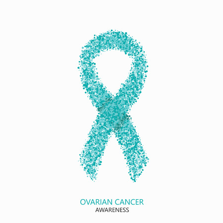 ovarian: Vector modern ovarian cancer awareness circles desigen. Teal ribbon isolated on white background