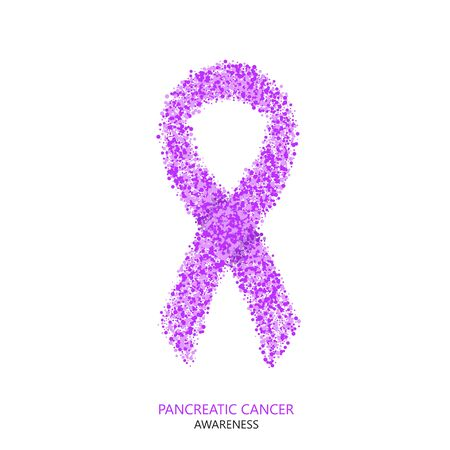 pancreatic cancer: Vector modern pancreatic cancer awareness circles desigen. Purple ribbon isolated on white background Illustration