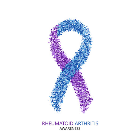 Vector modern rheumatoid arthritis awareness circles desigen. Purple and blue ribbon isolated on white background Stock Illustratie
