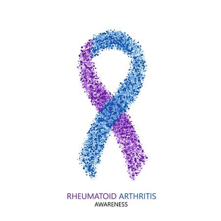 Vector moderne reumatoïde artritis bewustzijn cirkels desigen. Paars en blauw lint op een witte achtergrond