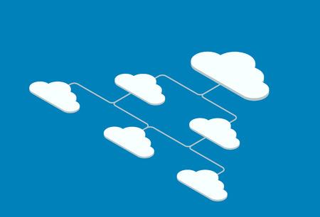 diseño de fondo de vector de movimiento isométrico de la nube del movimiento del vector