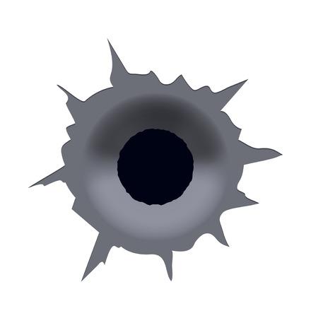 Vector modern bullet hole on white background. Eps10