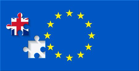 referendum: vector Great Britain referendum on secession from the European Union. flag background