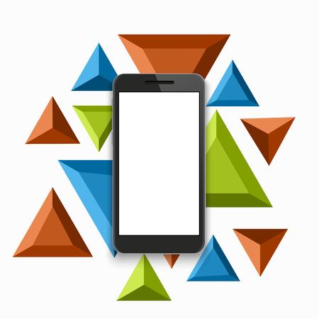 handphone: vector modern smartphone triangular background.