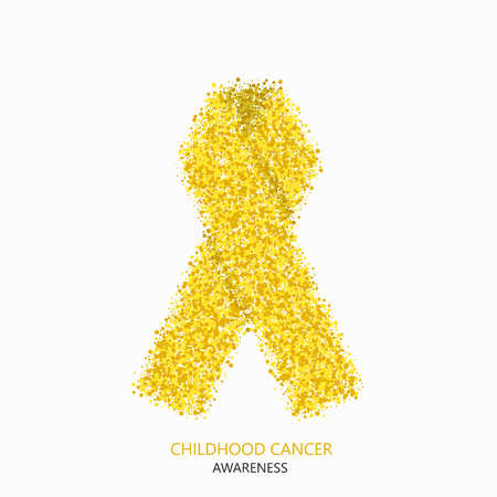 childhood cancer: Vector modern childhood cancer awareness circles desigen. Yellow ribbon isolated on white background