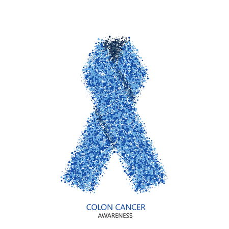 colon cancer: Vector modern colon cancer awareness circles desigen. Blue ribbon isolated on white background