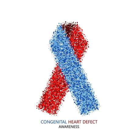 fibrosis: Vector modern Congenital Heart Defect circles desigen. Blue and red ribbon isolated on white background