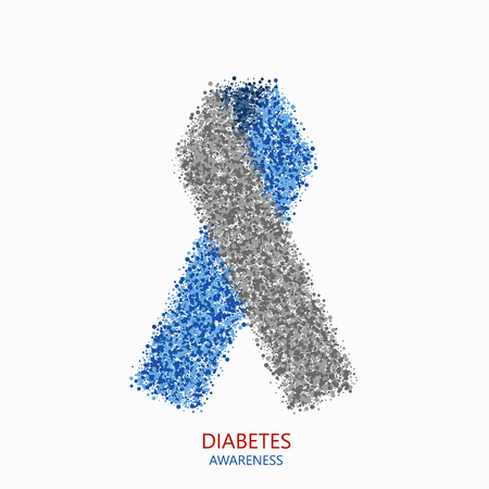type 1 diabetes: Vector modern diabetes circles desigen. Blue and gray ribbon isolated on white background