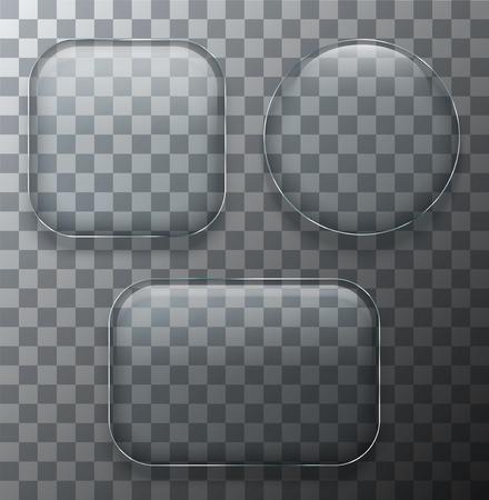 Vector modern transparent glass plates set on sample background. Eps10 Ilustrace