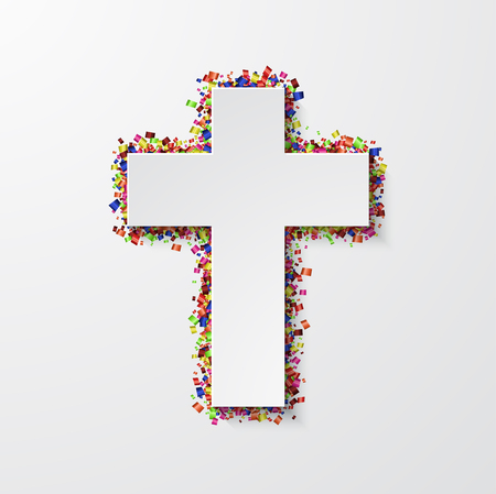Vector modern cross with confetti on white background Illustration
