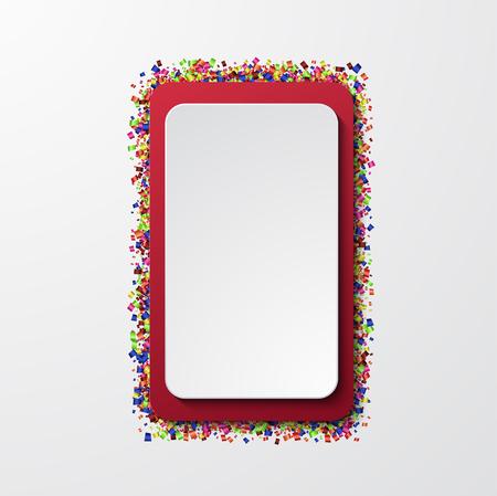 Bannière moderne de vecteur avec des confettis sur fond blanc
