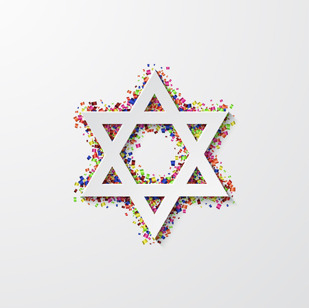 Vector modern star of David with confetti on white background