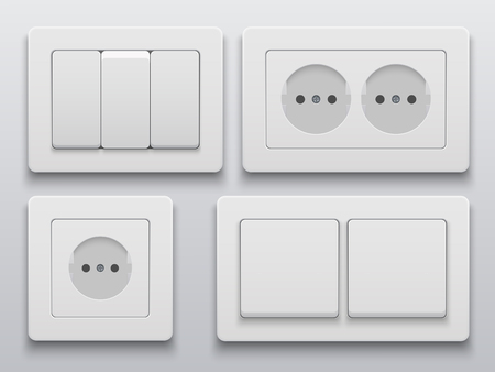enchufe de luz: Vector modern power socket and light switch icon on background