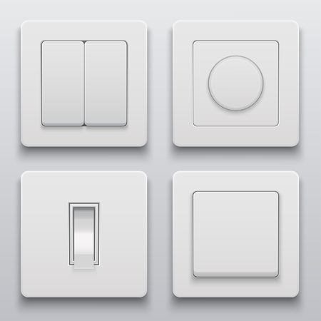 Vector modern light switch icons set on light background Illustration