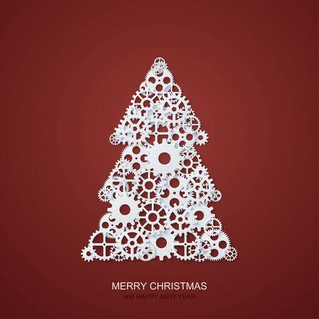 Fond de vecteur concept moderne arbre de Noël et mécanisme engrenages. Invitation de Noël ou bonne année