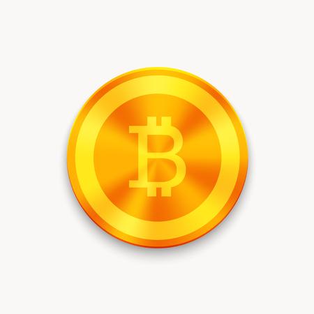 Vector Bitcoin future currency coin. blockchain icon. Illustration