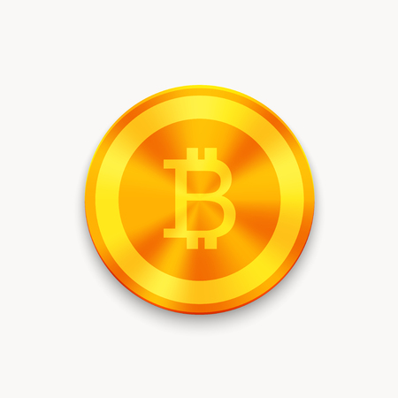 metal net: Vector Bitcoin future currency coin. blockchain icon. Illustration