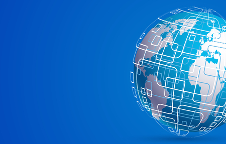 techology: Vector modern techology concept background. global world backdrop Illustration