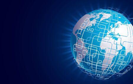 techology: Vector modern techology concept background. global world backdrop.