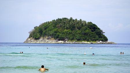 Island near the beach in the ocean.