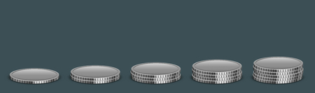 Vector Modern money coins icon on sample background.
