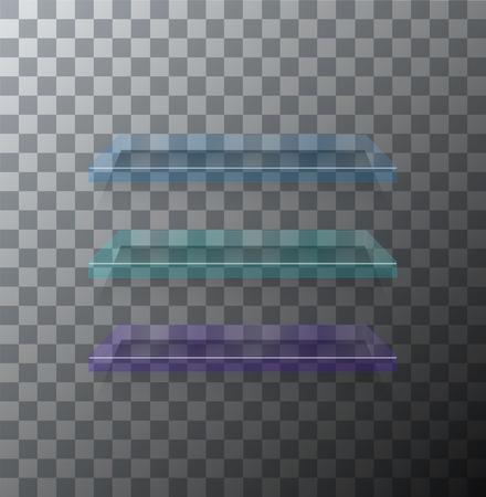 Vector modern flass shelfs set on transparent background Illustration