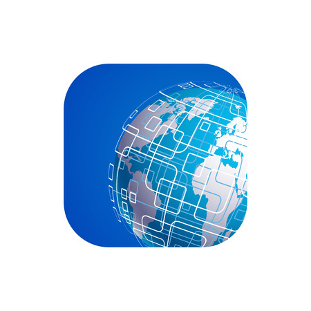 techology: Vector modern techology icon on white background. global world backdrop.