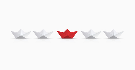 Vector modern concept leadership background. Red and white origami boat