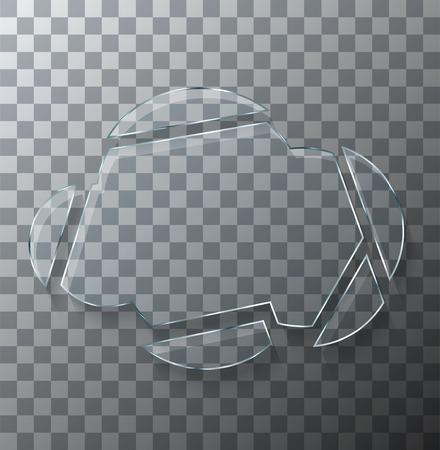 Vector modern concept broken cloud glass on transparent background.