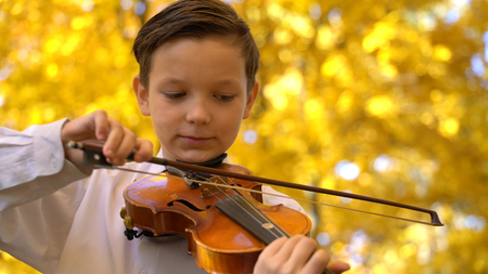young guy playing the violin in the autumn park. Stock Photo