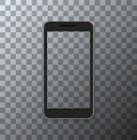 Vector modern smartphone with empty screen on transparent background. Stockfoto - 90930064