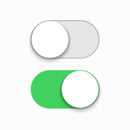 Vector modern green slider button on white background. Stock Illustratie