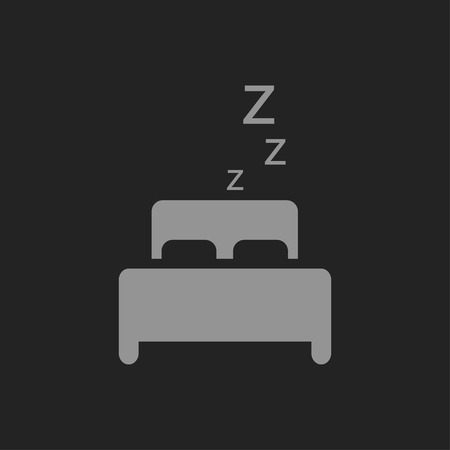 sleeping concept. Bed icon on black Illustration