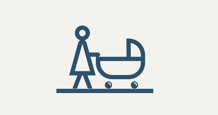 vector pictogram mother with baby stroller. icon background