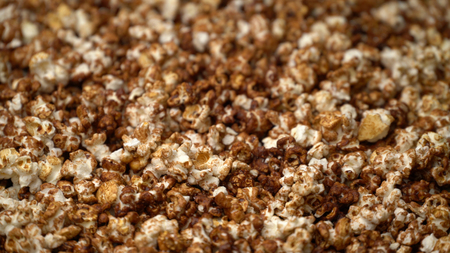 close up caramel popcorn background