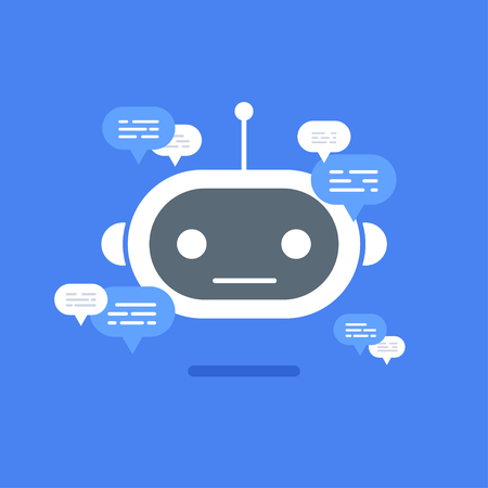 Vector modern flat chat bot with speech bubble icons on blue background. Stock Illustratie