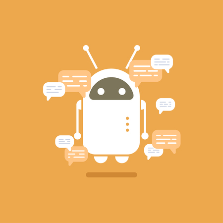 Vector modern flat chat bot with speech bubble icons on orange background.