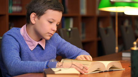 portrait of schoolboy doing their homework in library or room Stockfoto